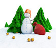 Snowman of Christmas trees