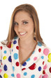 woman smile polka dot robe head