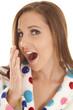 woman yawn pola dot robe head