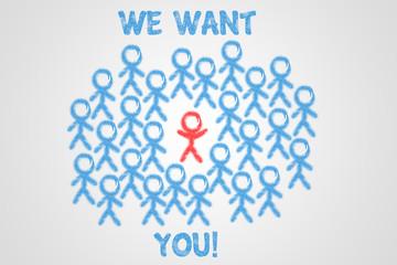 We want you! Wir suchen Sie!
