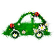 Car made of grass and flowers