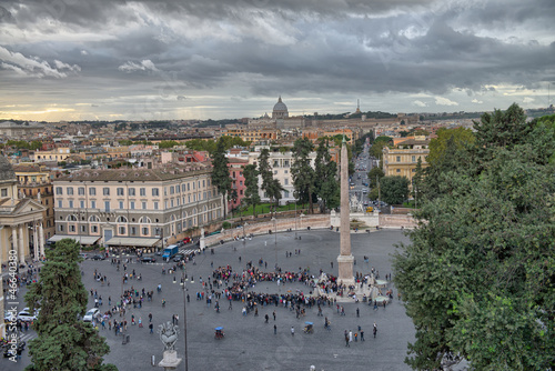 View of Piazza del Popolo from Pincio promenade - Rome