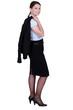 Confident businesswoman holding jacket over shoulder