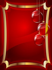 Christmas red background with decorations