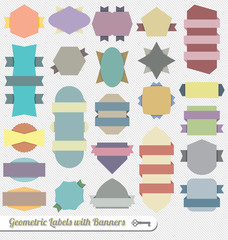 Vector Set: Colorful Ribbon Banner Labels