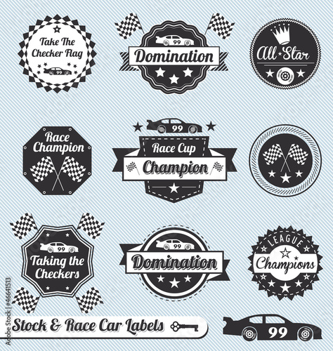 Vector Set: Racing Car Champion Labels and Icons