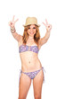 Young Casual Girl with Bikini making an Victory Sign with Hands