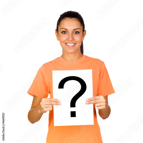 Girl Holding a Blank Paper with a Question Mark