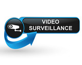 video surveillance sur bouton web design bleu