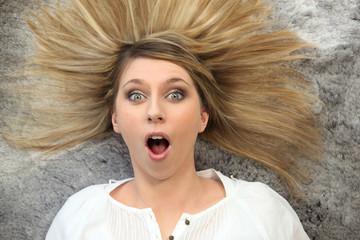 Portrait of a surprised woman