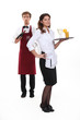 Waiter and waitress starting shift