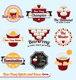 Vector Set: Beer Pong Champion Labels and Icons