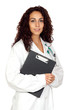 Brunette doctor woman with a clipboard