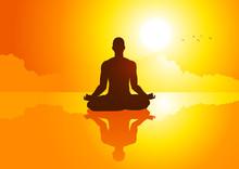 Silhouet illustratie van een man figuur mediteren