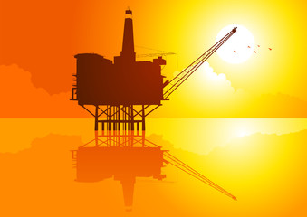 Vector illustration of offshore refinery