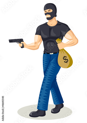 Illustration of a robber holding a gun and a bag of money