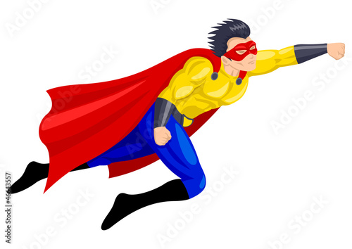 Superhero with a mask in flying pose