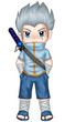 Chibi style illustration of a superhero