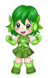 Chibi style illustration of a super-heroine