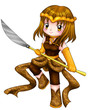 Chibi style illustration of a warrior girl