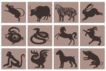 chinese zodiac icons. vector file