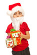 Little Santa Claus with gifts
