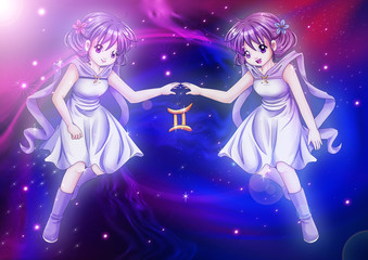Manga style of zodiac sign on cosmic background, Gemini