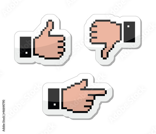 Pixel cursor icons - thumb up, like it, pointing hand