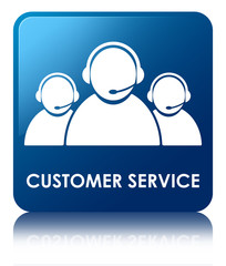 Customer Service Blue Square Button