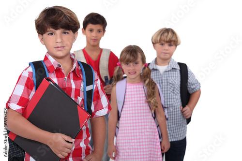 Schoolchildren with backpacks