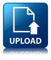 UPLOAD Blue Square Button
