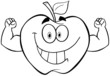 Outlined Apple Cartoon Mascot Character With Muscle Arms