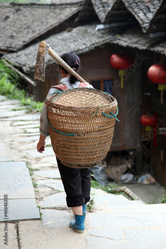 Miao countrywoman from Longji rice terraces, Guangxi province, C