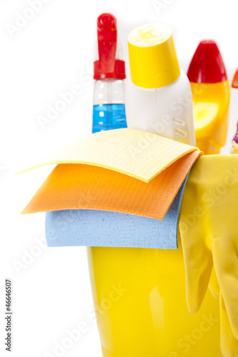 Cleaning items set over white