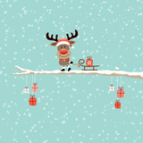 Fototapety Rudolph On Tree Pulling Sleigh With Gift Retro