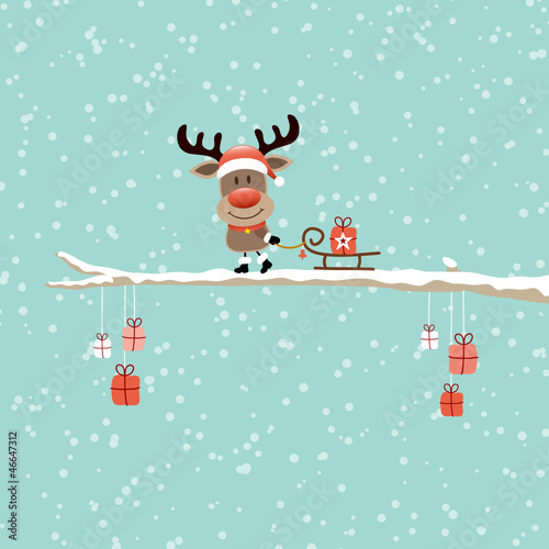 Rudolph On Tree Pulling Sleigh With Gift Retro