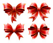 Vector set of beautiful red gift bows.