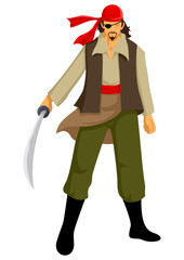 Vector illustration of a pirate with a sword
