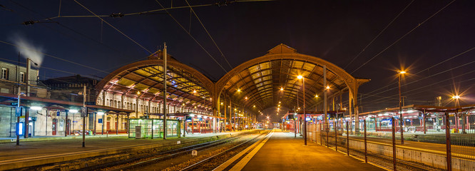 Strasbourg railway station at night. Alsace, France