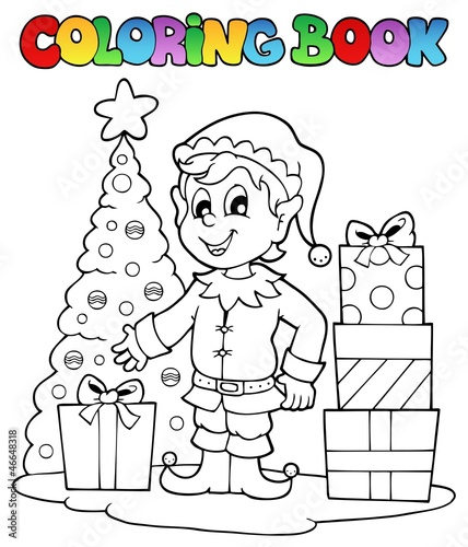 Coloring book Christmas elf theme 1