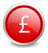 Pound red button - design web icon