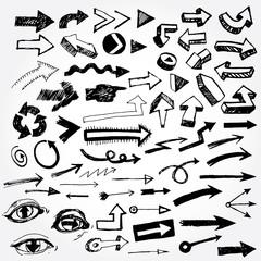 Big set of doodled arrows