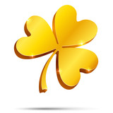 Isolated golden clover, illustration for St. Patrick's day