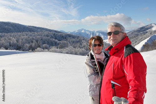 Couple going cross-country skiing