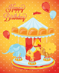 birthday carousel with animals