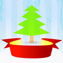 red ribbon with green tree down on striped blue background