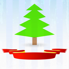 green tree with red ribbon down on striped blue background