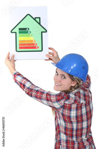 Woman with a house energy sign