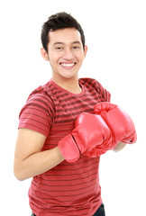 young man with boxing glove