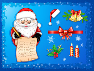 Santa-Claus writing on scroll with Christmas icons-set